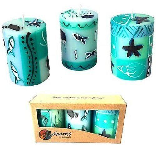 Set of Three Boxed Hand-Painted Candles - Samaki Design - Nobunto