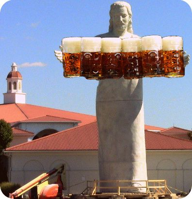 "My latest creation: Oktoberfest Jesus! Ein Prosit! #touchdownjesus    This is the new statue in Ohio that replaced ""Touchdown Jesus."" TDJ was destroyed in a lightening fire. Being serious for a moment, I think this Jesus statue looks much better than the last."