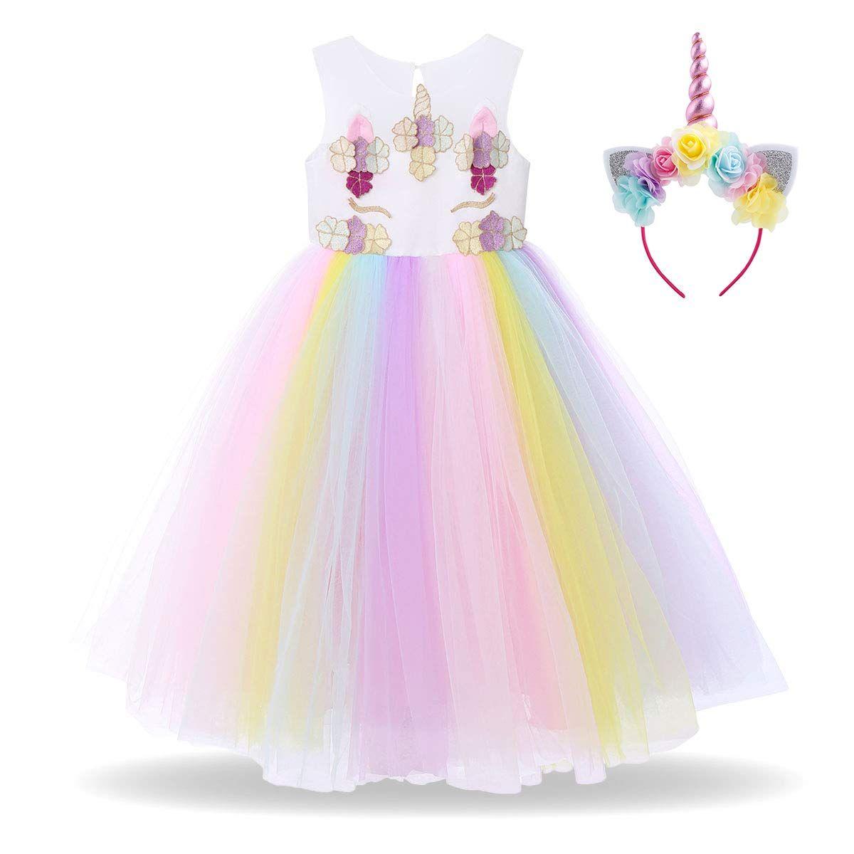 US  Stock Baby Kids Girl Unicorn Headband+Tulle Tutu Skirt PArty Dress Costume