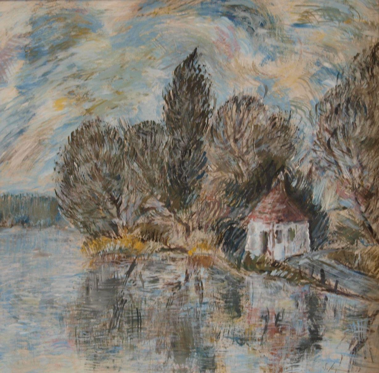 Kleines Fährhaus an der Elbe Gemälde acryl, Gemälde