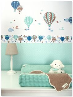 Cute Hei luftballons Boys taupe mint Selbstklebende Kinderzimmer Bord re Wandsticker passende Punktetapete in mint
