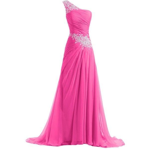 Sunvary New Chiffon and Applique Long Bridesmaid Dresses Evening Prom... ($50) ❤ liked on Polyvore featuring dresses, gowns, long dresses, pink, prom, long evening dresses, long prom gowns, long gowns, prom dresses and pink cocktail dress