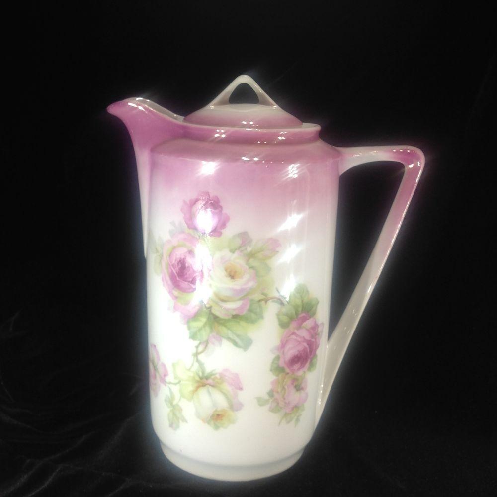 Antique Otto Grunert Porcelain  Chocolate Pot Germany White Pink Flowers