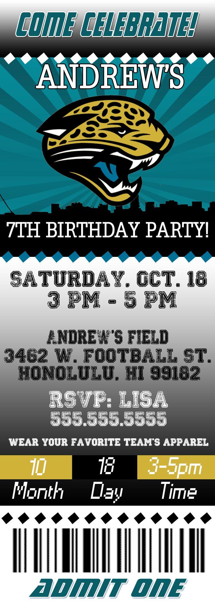 NFL Jacksonville Jaguars Ticket Birthday Invitation