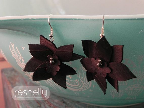 Floral Earrings eco-friendly statement by RebeccaShellyArt on Etsy