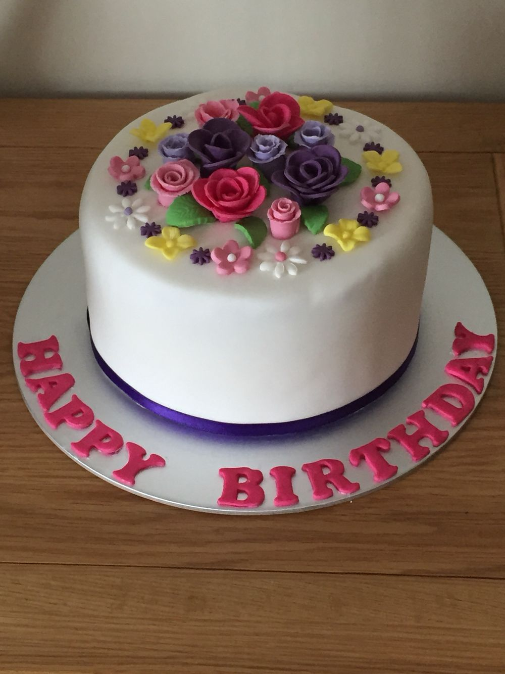 All edible made from fondant fondant flower themed birthday cakes cake izmirmasajfo