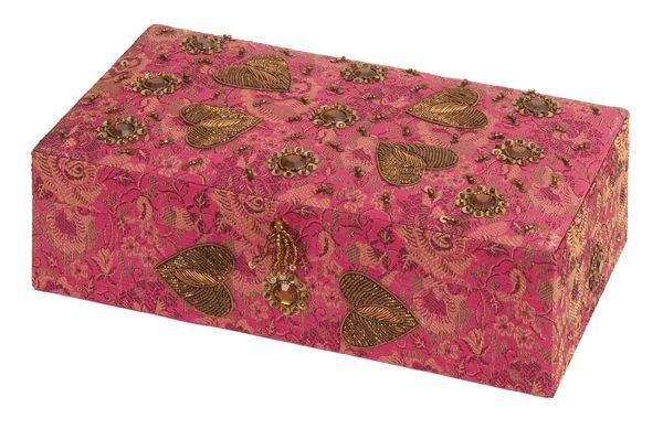 Benzara 16093 10 in W Wood Fabric Jewelry Box Beautiful Boxes
