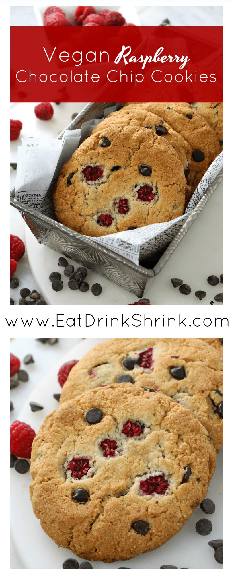Vegan Almond Flour Raspberry Chocolate Chip Cookies