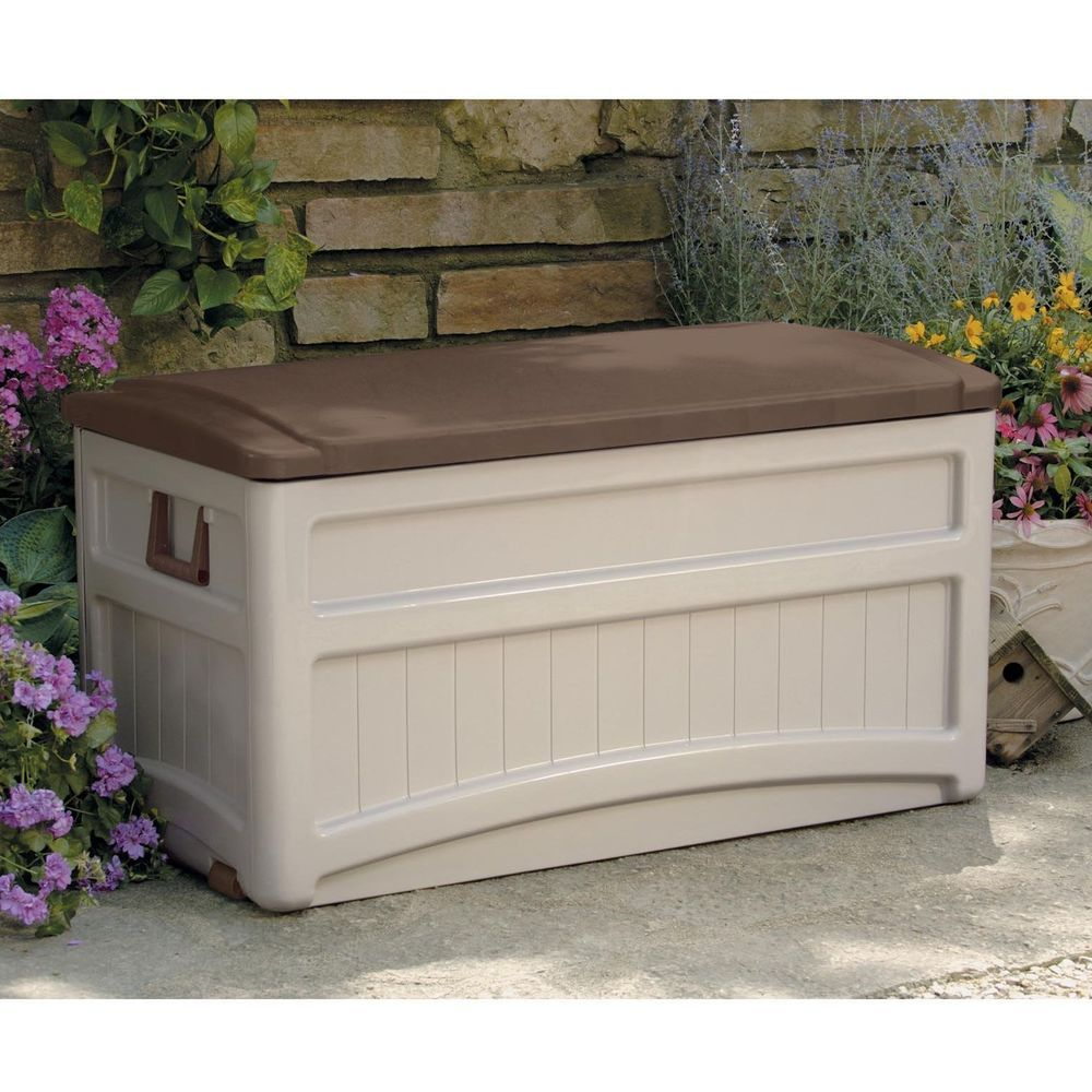 Patio Storage Bench Deck Resin Furniture Box Outdoor Container Seat Brown  73 Gal