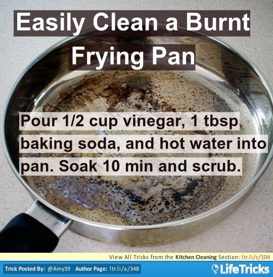 Easily Clean A Burnt Frying Pan Cleaning Pans Kitchen Hacks