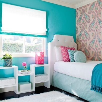 J likes paint color.  Girls Blue Bedroom Design Ideas, Pictures, Remodel, and Decor - page 2