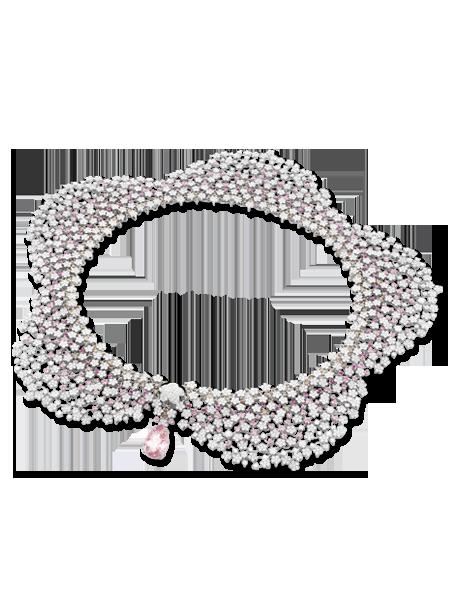 Pasquale Bruni - Collana in oro bianco con morganite, zaffiri rosa, diamanti bianchi e champagne