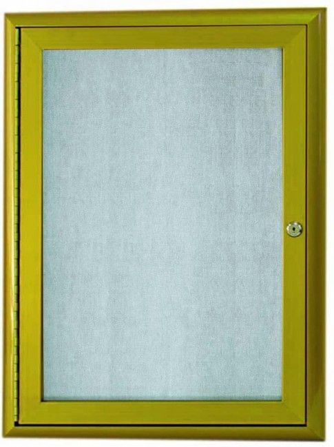 OWFC3624LB. Enclosed Bulletin Board with Aluminum Waterfall Style Frame. Frame is Antique Brass. Back Panel is Neutral Burlap Weave Vinyl. 36″Hx24″W. One Door
