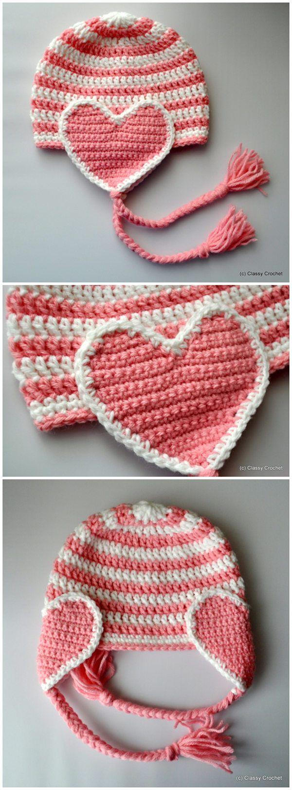 Crochet Valentine Heart Earflap Hat | häkeln | Pinterest | Mütze ...