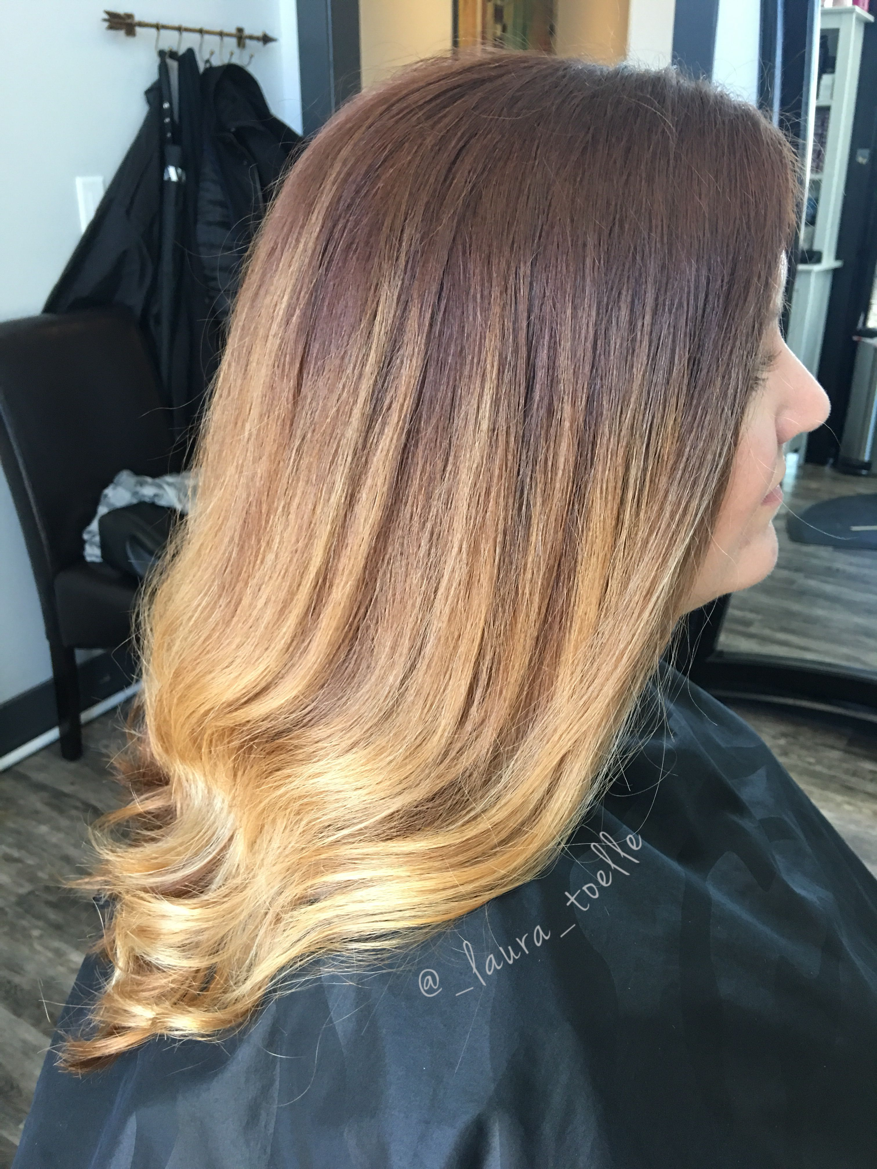 Red To Copper Ombre Sunset Colors Hand Painted Hair Lkhairstudios Hair Painting Hair Long Hair Styles