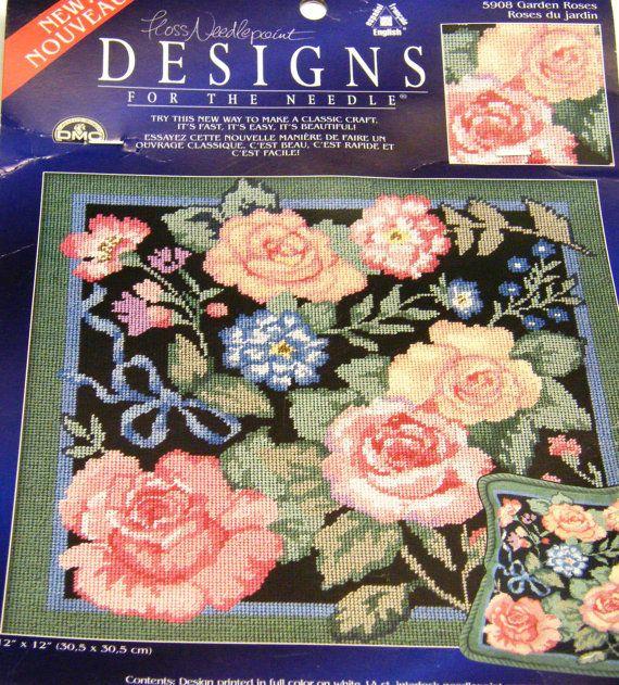 Rose Garden Needlepoint Kit By Owlshop On Etsy 8 00