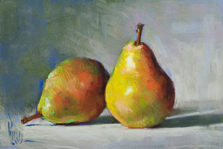 A Pair Of Pears Pastel 11 5 X 7 5 In 2020 Pear Art Fruit Painting Still Life Fruit