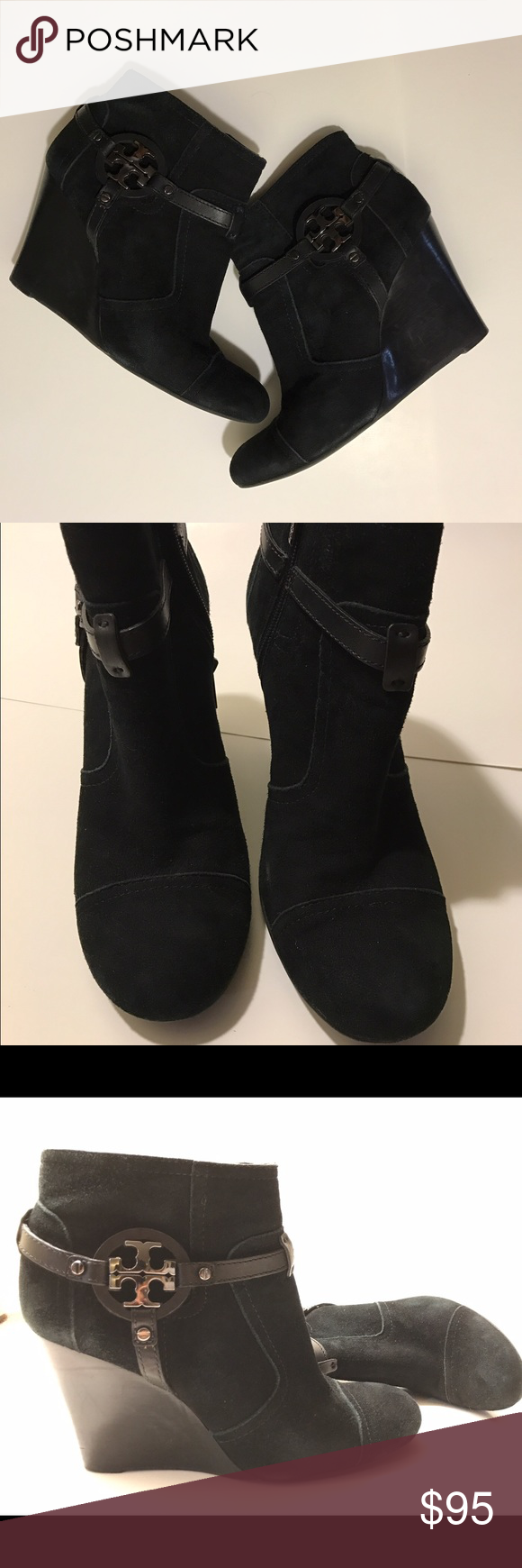 c1caebd7f2a Tory Burch  Aaden  Wedge Bootie Size 11 but runs small. It will fit a 10  perfectly. Tory Burch Suede Wedges! Very stylish and a Wedge is always  comfy to me.