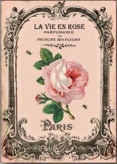 Postal rosa la vie en rose vintage imprimible.