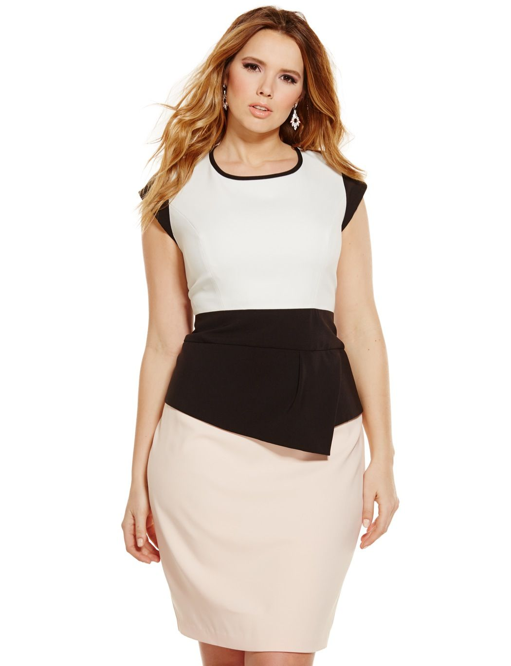 Colorblock Asymmetrical Peplum Sheath Dress | Women\'s Plus Size ...