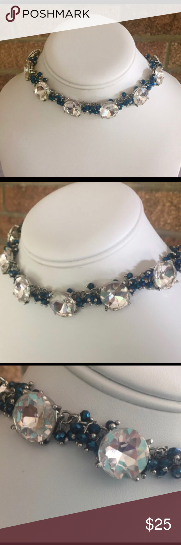 Rhinestone choker Gorgeous large white crystal rhinestones with small blue glass beads.  Total length of choker is 16 inches. Jewelry Necklaces