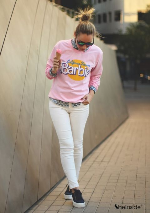 Sudadera casual estampada Barbie mangas largas-Rosado