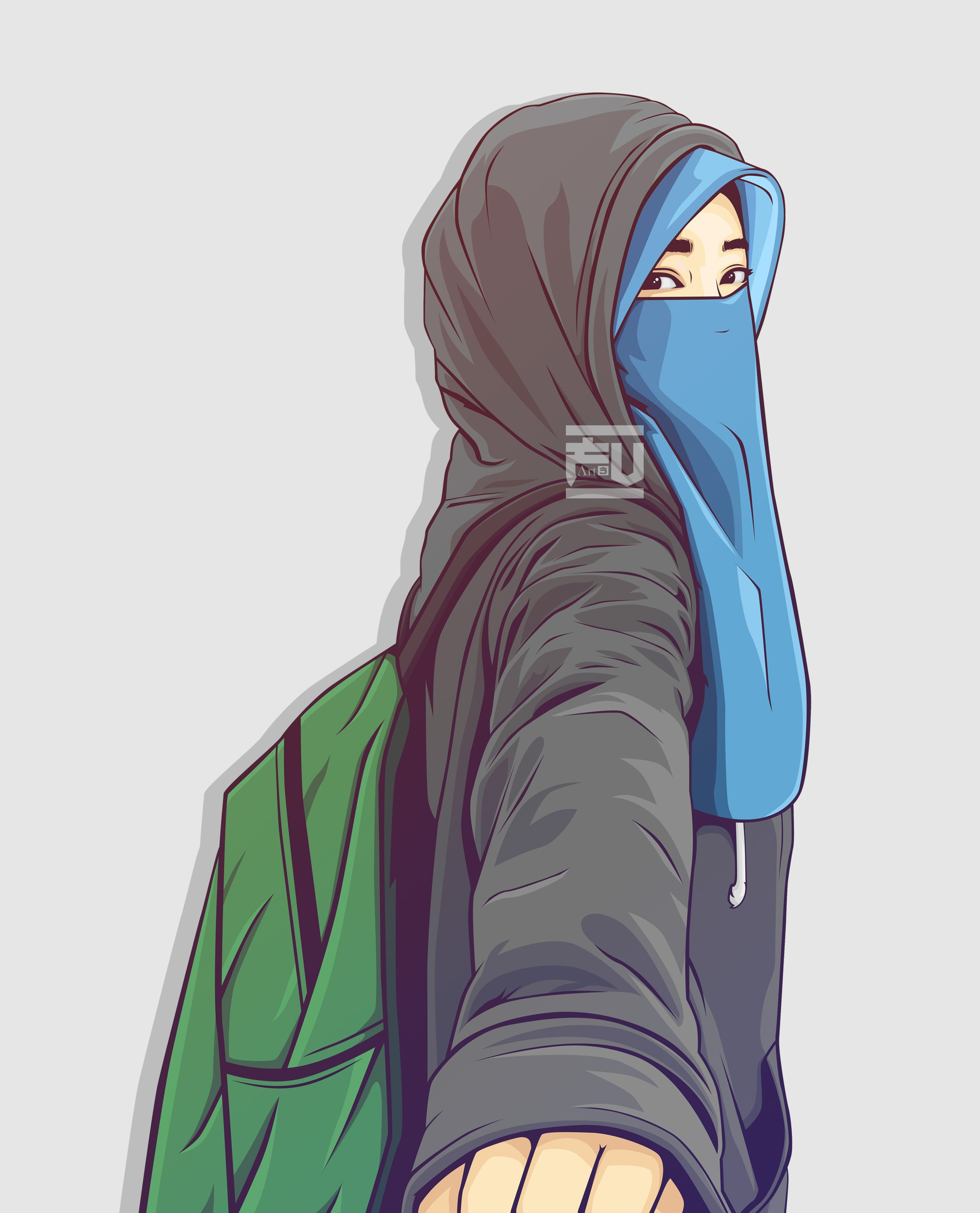 vector hijab niqab ahmadfu22 Animasi, Kartun