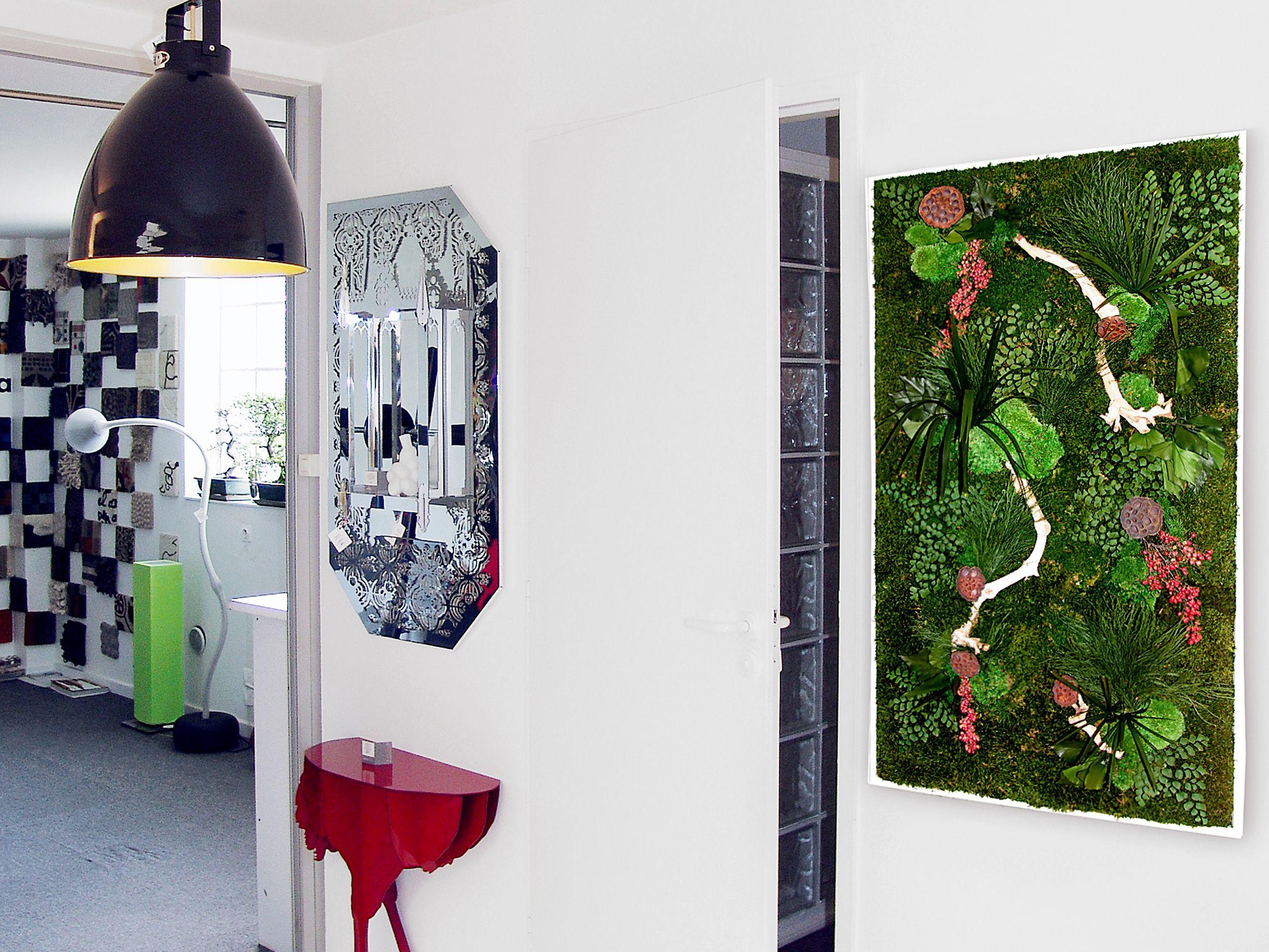 Tableau végétal décoration intérieure murale végétaux stabilisés création et réalisation adventive interior