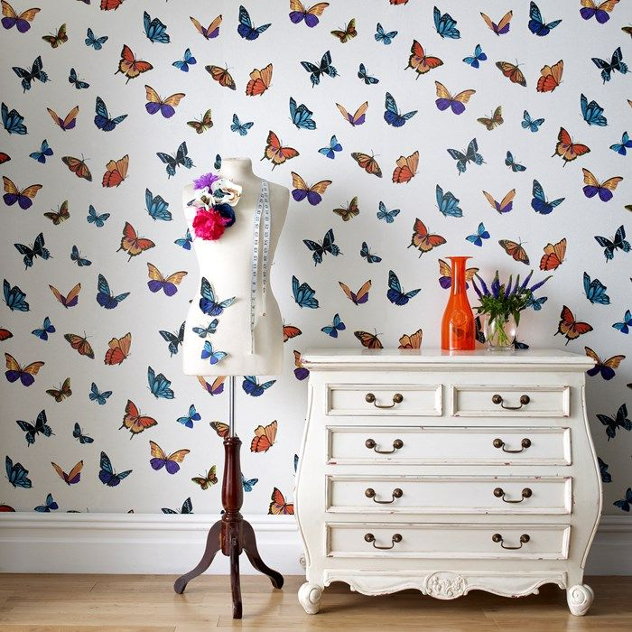 Pearl Butterfly Wallpaper - Designer Wall Coverings by Graham