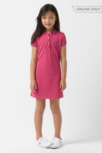241b32cb Lacoste Girl's Short Sleeve Pique Polo Dress with Tipping and Neon Croc :  Dresses