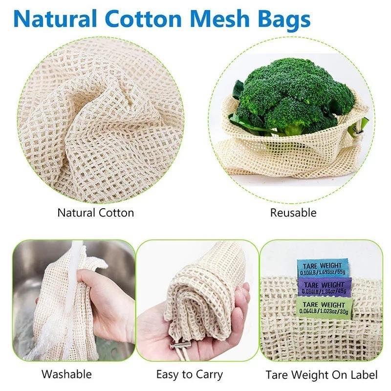 Reusable Cotton Mesh Fruit Bag Drawstring Vegetable Storage Shopping Net Bags US