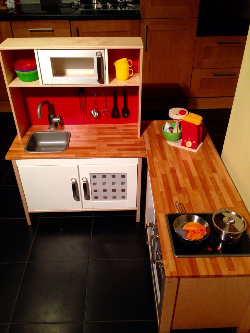 IKEA hack duktig play kitchen. Two basic units