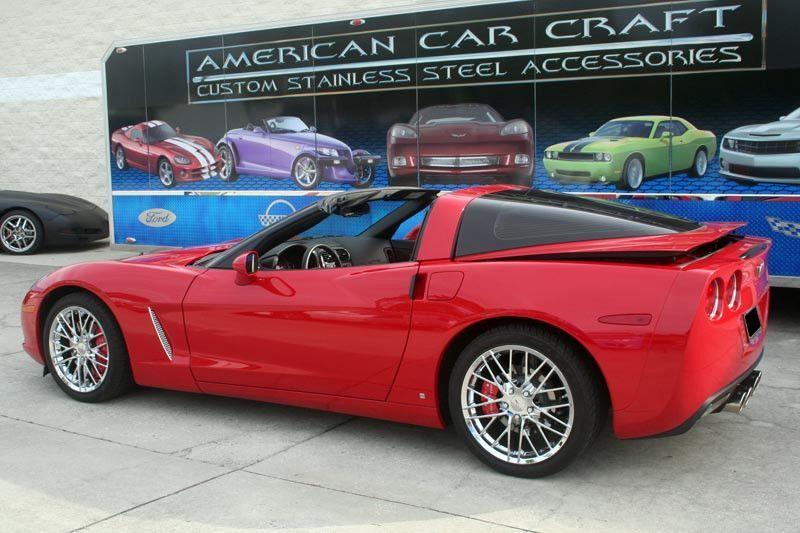 Corvette side vent grilles laser mesh 2pc polished 2005