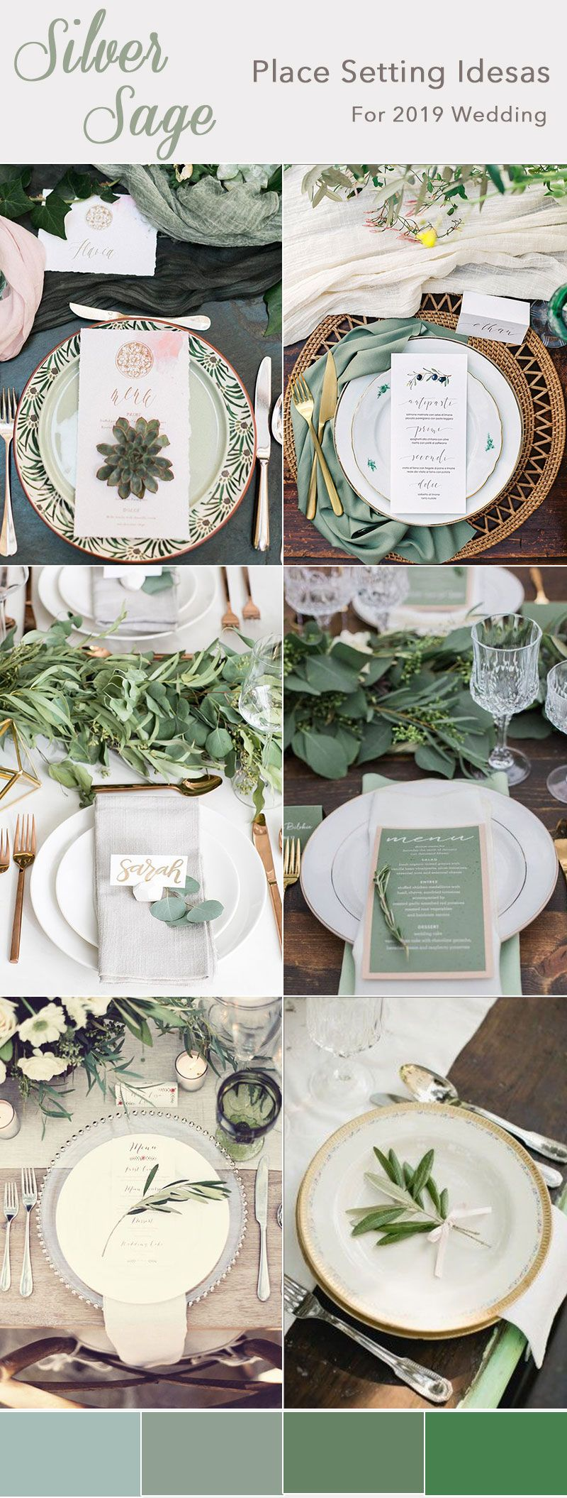 Wedding place setting ideas in silver sage