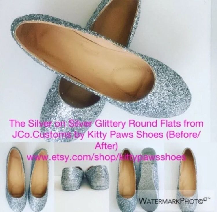 Jco Customs By Kitty Paws Shoes Women Custom Silver Glitter Ballet