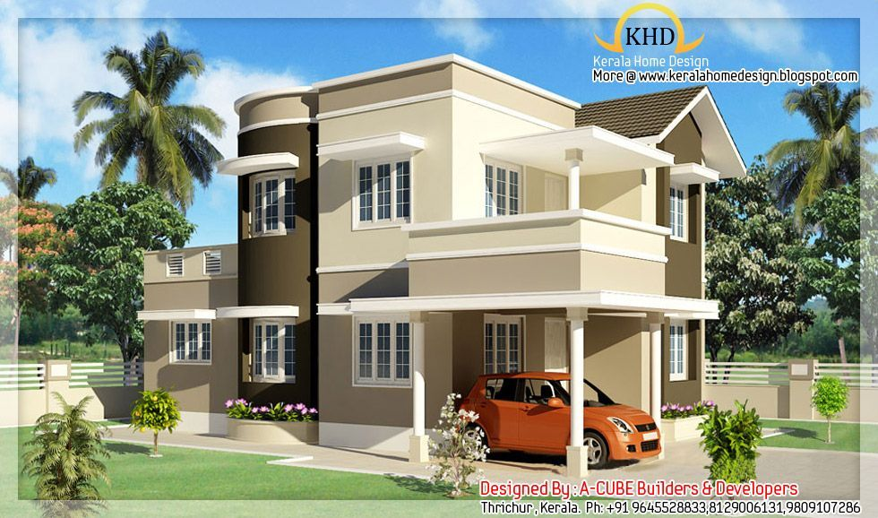 Front Design Of House Construction In India Part - 28: Duplex Model House India - House And Home Design. Front Elevation Designs  ...