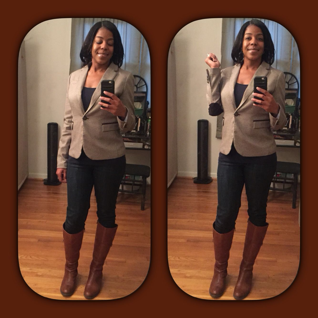 New plaid blazer from Marshalls, my fav Levi's & Aigner wide calf riding boots