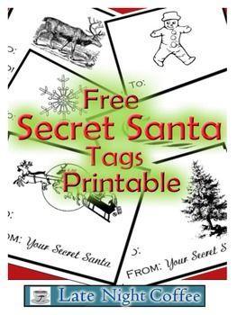 Secret Santa Tags Printable Free Secret Santa Gift