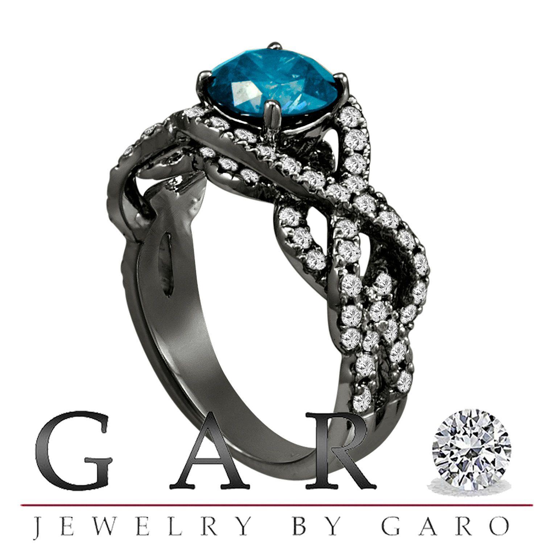 Unique Blue Diamond Engagement Ring Wedding Ring 14k Black Gold Vintage Style 1 90 Carat Certified Handmade Blue Diamond Engagement Ring White Diamond Rings Engagement Champagne Diamonds Engagement