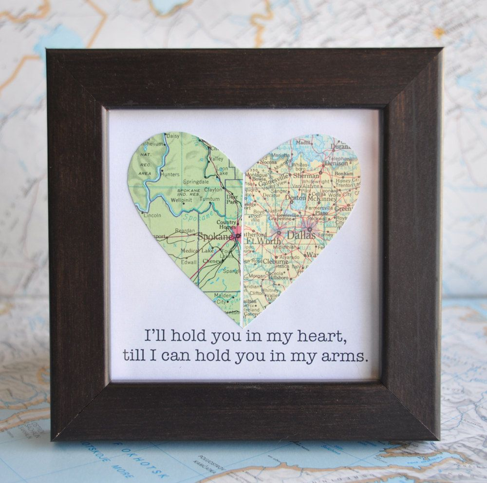 Christmas Gift Ideas For Long Distance Boyfriend: Long Distance Relationship Couple Map Heart Framed With