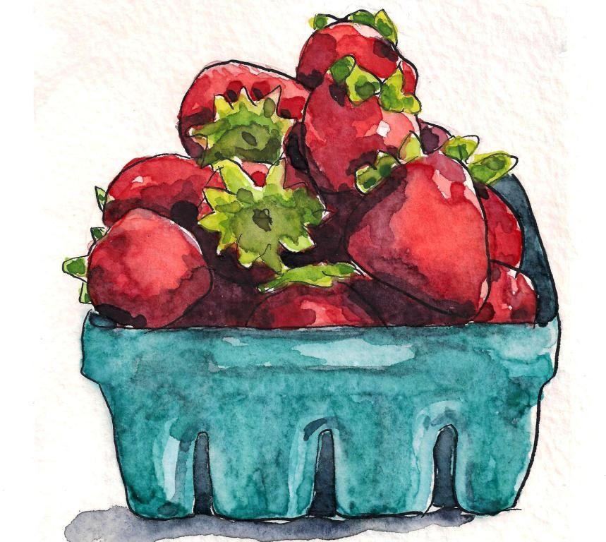 Strawberry art kitchen art fruit painting - Watercolor Original Art Painting. $35.00, via Etsy.