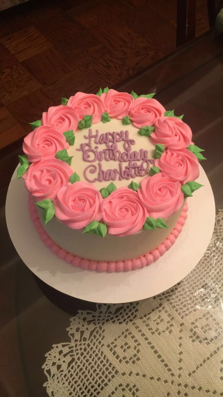 Sweet But Simple Pink Buttercream Rosette Birthday Cake