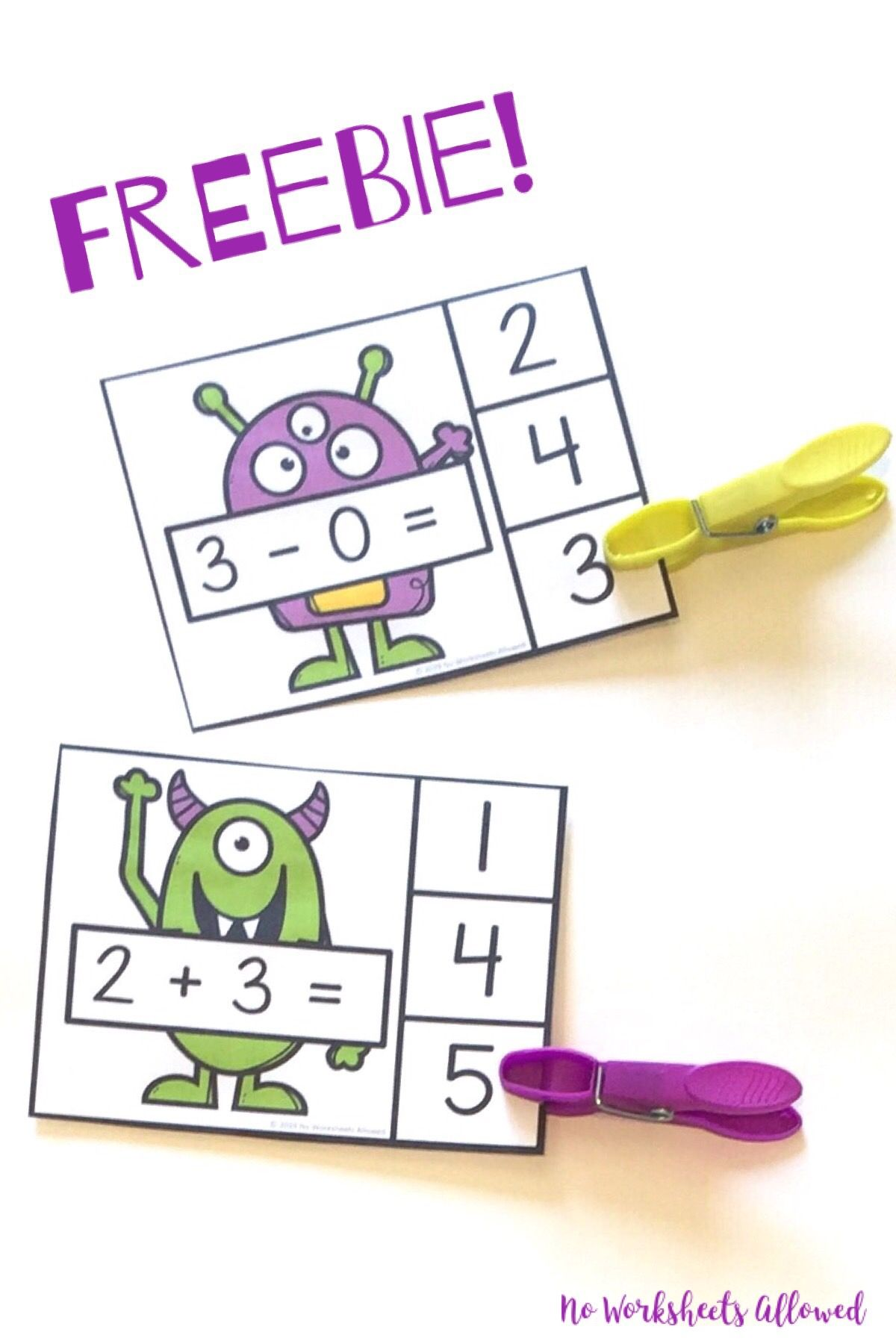 Addition And Subtraction Clip Cards Freebie