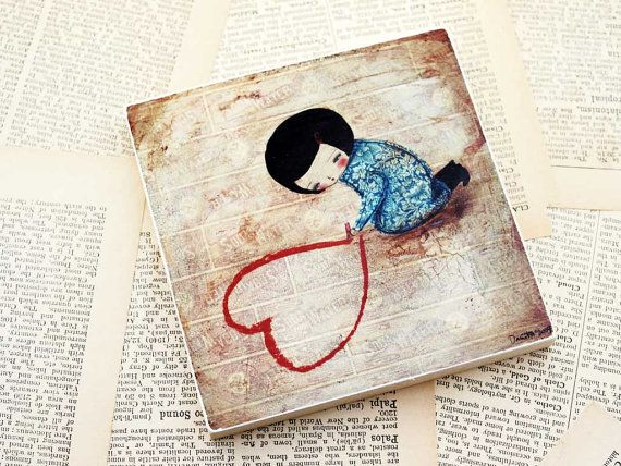 DRAWING LOVE  Giclee Reproduction Mounted On Wood by DanitaArt, $30.00