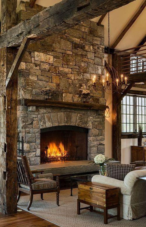 Living Room Rustic Cabin Interiors Pinterest - tipos de chimeneas