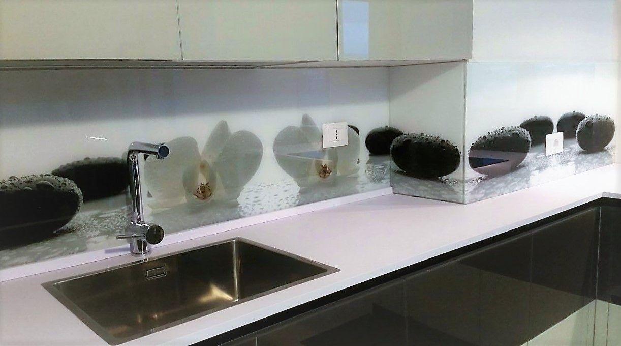 Schienale cucina in vetro stampato orchidea schienali - Schienale cucina vetro ...