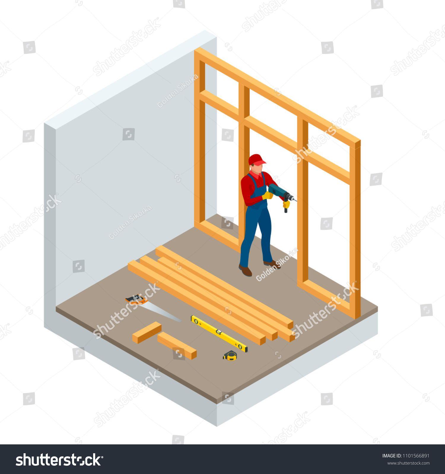 Isometric professional carpenters drilling wood
