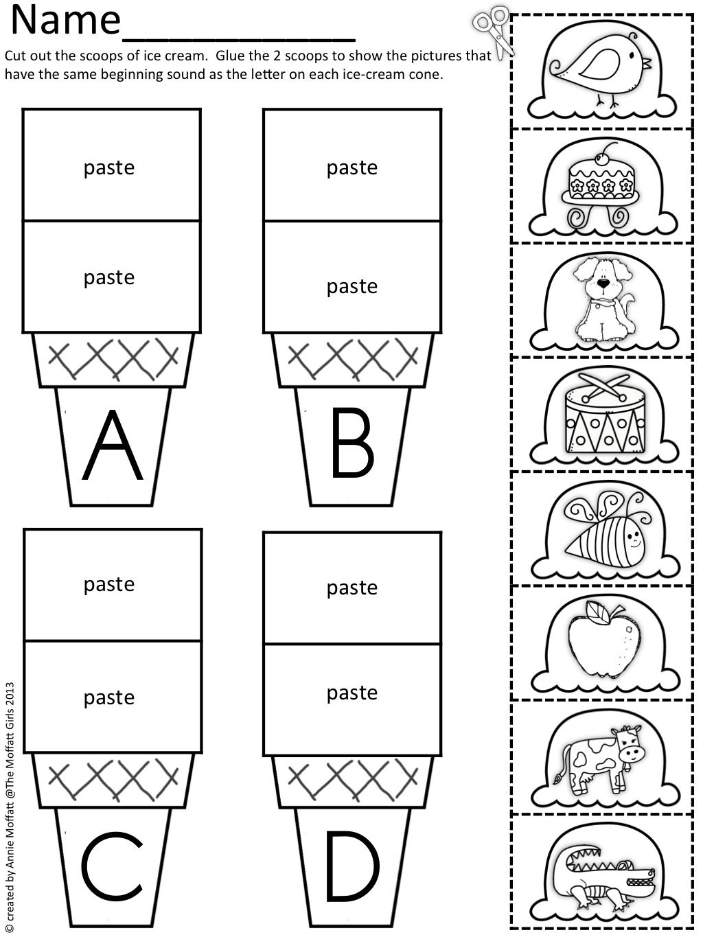 worksheet Beginning Sounds Worksheets Cut And Paste beginning sound scoops kindergarten school and literacy scoops