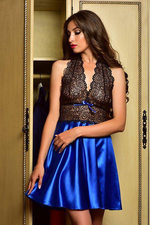 178fe8e9c9 Blue bridal nightgown Sexy nightgown Lingerie nightgown Bridal sleepwear  Nightgown plus Satin babydo