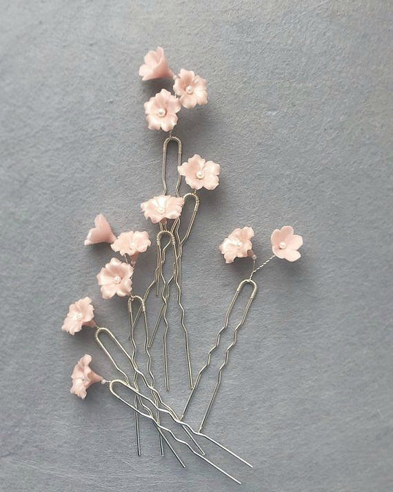 Set Wedding Hair Pins with Small Flowers, Silver Bridal Hairpins, Gold & Rose Gold Hair Piece Gypsophila, Wedding bobby pins #hairaccessories